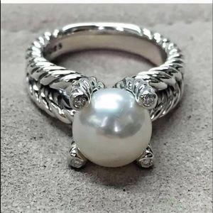 David Yurman Pearl & Silver Twist Ring